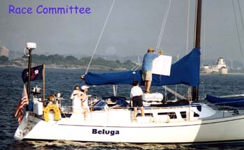 Race Committee on Beluga getting ready for the start.